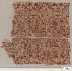 Fragment Date: late 12th–early 13th century Geography: Spain Culture: Islamic Medium: Silk, metal-wrapped thread; lampas, brocaded Accession Number: 27.58.2
