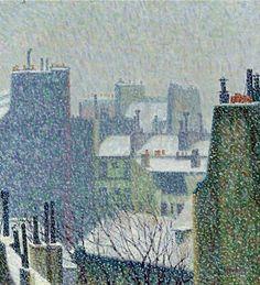 """Hemingway's Paris: """"Roofs of Paris In The Snow."""" Herbin, 1902."""