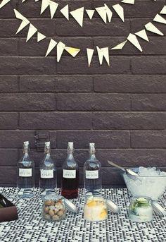 Cocktail bar- cute bottles with liquor... Kelsey wedding?!