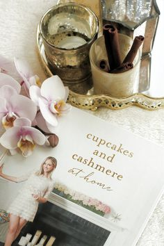 Cupcakes and cashmere Book with Orchid and Candles