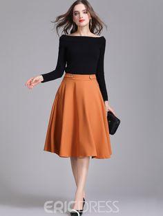Ericdress High-Waist Knee-Length A-Line Women's Winter Skirt