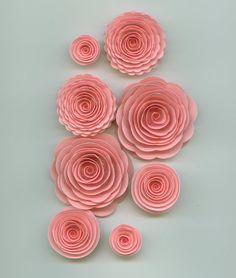 Light Pink Handmade Spiral Paper Flowers