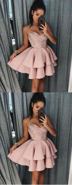 Pink Homecoming Dress, Spaghetti Straps Homecoming Dress, Simple