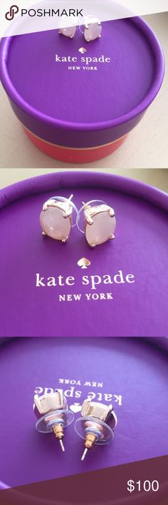 "NWOT kate spade Rose Gold ""Moonstone"" Earrings Classic rose gold kate spade studs with cloudy peachy blush moonstones. Perfect pastel accessory for spring! MSRP: $38 + tax.  BRAND NEW WITHOUT TAGS: Bought these ages ago and never wore them. I can't find the original receipt or cardboard display piece, but I still have the original jewelry bag and gift box! Photographed using another pair's display card.  Smoke and pet-free home! I often adjust my pricing during Posh parties and promos, keep…"