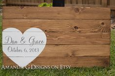 Personalized Wedding Guest Book alternative with wrap around heart - Hand painted wood sign Amanda G on Etsy