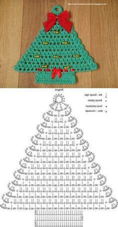 Best 12 Crochet tree, for Christmas decorations, set of 6 tree decorations, wonderful for your Christmas tree. If you want they can be - Her Crochet Crochet Christmas Decorations, Christmas Tree Garland, Crochet Christmas Ornaments, Christmas Crochet Patterns, Holiday Crochet, Christmas Knitting, Christmas Crafts, Crochet Ideas, Christmas Coasters