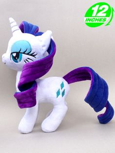 My Little Pony Rarity Plush  Rarity's fabulousness is captured perfectly in these gorgeous toys. They feature great detailing such as her eyes, cutie mark and even her beautifully coiffed mane and tail. A must-have for any My Little Pony fan.  - Plush is approx 12 inches / 30 cm tall. - Brand new with tags. - Ages 6 & up.