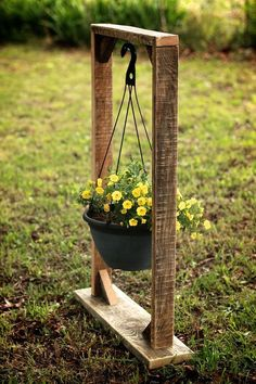 Plant Hanging Basket Stand Plant Stand by GrindstoneDesign