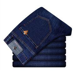 Estilo de los hombres de Moda Casual de Alta Calidad Denim Jeans Slim Fit Stretch Rayado Largo Jeans Pantalones Pantalones para Niños de China azul