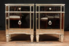 Photo of Pair Mirror Bedside Cabinets Tables Chests Nightstands Borghese Mirrored Sideboard, Mirrored Furniture, Funky Design, Bedside Cabinet, Light And Space, Nightstands, Chest Of Drawers, Art Deco Fashion, Cabinets