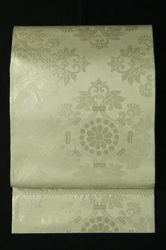Ivory fukuro obi / アイボリー地 上品な淡銀の華紋柄 六通袋帯   #Kimono #Japan  http://www.rakuten.co.jp/aiyama/
