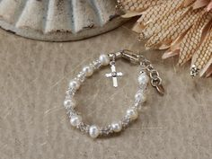 Sterling Silver First Communion Bracelet by TinySilverTreasures