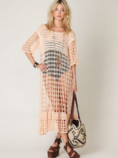 Outstanding Crochet: Free People. Crochet dress/beach-ware