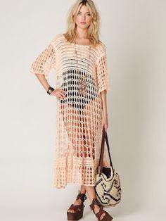 Outstanding Crochet: Free People. Crochet dress/beach-ware
