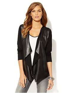 Love this - Faux-Leather Flyaway Cardigan from New York & Company