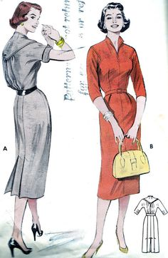Vintage Sewing Pattern 1950s Butterick 6978 Sheath Dress with Gored Skirt and Back Bodice Yoke Size 16 Bust 34