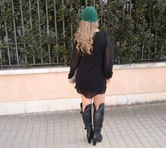 www.streetstylecity.blogspot.com Fashion inspired by the people in the street ootd look outfit sexy otk boots pantyhose dress cute heels girl woman