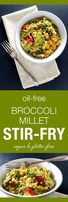 Oil-Free Broccoli Millet Stir-Fry - this vegan and gluten-free recipe offers a tasty alternative to traditional rice stir-fries - a satisfying meal or side dish | VeggiePrimer.com