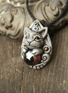 Cat pendant - cat necklace - kitty - dark - grey - silver - amber - ooak jewelry - polymer clay - fantasy by GloriosaArt