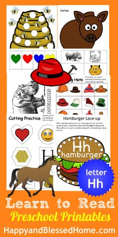 "30+ FREE Preschool Activities with 50+ FREE Printables for Learning to Read Letter ""H"" from www.HappyandBlessedHome.com #FREEPrintables #PreschoolActivities"