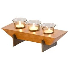 Picnic Plus Village Votive - Set of 3 - Wood Tea Light Holder, Wooden Candle Holders, Candle Tray, Woodworking Candle Holder, Wooden Platters, Wood Carving Designs, Small Wood Projects, Glass Votive, Woodworking Projects That Sell