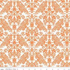 "FABRIC GRAND OPENING Riley Blake ""Hollywood Medium Damask"" Orange on White by HouseOfJdawn on Etsy"