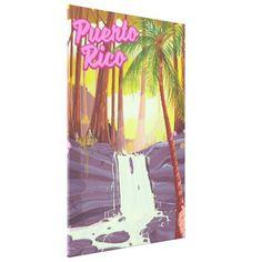 Puerto Rico Tropical Palm travel poster Canvas Print - decor diy cyo customize home