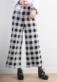 Korean High Waist Checked Wide Leg Knit Trousers