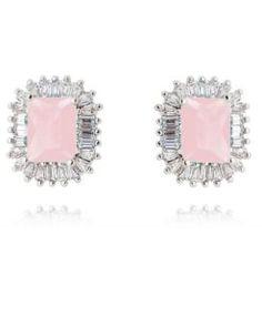 brinco quadradinho quartzo rosa com zirconias cristais baguete semi joias de luxo