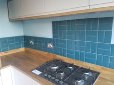 Teal metro tiles in white kitchen with oak worktop and upstand. Kitchen Inspirations, Wood Worktop, Shabby Chic Dining Tables, New Kitchen Cabinets, Farmhouse Dining Table, Wood Kitchen Cabinets, Kitchen Remodel, Worktop Upstands, Kitchen Tops
