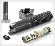 Rough, manly and hidden way to store #cash, memory #cards in the form of bolt screw!