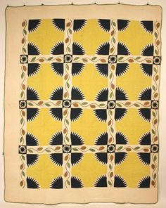 Beautiful  rare Watauga County, North Carolina quilt made by Nancy Lucinda Horton (b.1824). The Great Divide/Rocky Mountain pattern with appliqué  reverse appliqué. ty, chigonue. via Case Antiques