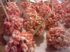 pink popcorn balls for baby shower