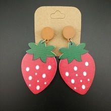 Punk Jewelry Night Club Women Jewelry Fashion Hip Hop Wood Fruit Strawberry Stud Earrings(China (Mainland))