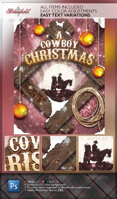 Vintage Cowboy Christmas Flyer Template  #GraphicRiver         Stronghold Branding:Tis the season to start thinking about your holiday and or christmas event that might involve anything western. Don't miss the chance to say yeehaw at your next event!  	 Use: 1. All layers simply & clearly organized. 2. All text layers active and ready for you event info. 3. Adobe Photoshop CS3 – PSD file: 300dpi, 8×10, Print ready.  	 INCLUDED : + ONE – ADOBE PHOTOSHOP CS3 FILE (LAYOUT FILES ARE 300DPI /CMYK...