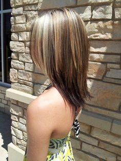 Medium length hair cut with partial blonde highlights...I want my hair like this but blonde with brown lowlights or highlights