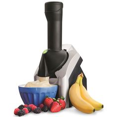 The Frozen Fruit Soft Serve Processor - Hammacher Schlemmer. This is the device that instantly turns frozen fruit and other flavorings into a soft-serve treat Frozen Fruit, Frozen Yogurt, Fresh Fruit, Fruit Ice, Fruit Sorbet, Mango Sorbet, Weight Watcher Desserts, Hammacher Schlemmer, Gadgets And Gizmos