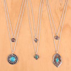 Colares duplos com pegada Boho! #colar #bijoux #necklace #turquesa #turquoise #bijoux #accessories #trend #verao #summer #bohochic #boho #acessorios