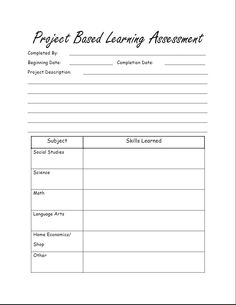 free printable project based learning assessment for homeschool problem based learning inquiry based learning
