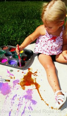 Homemade fizzing sidewalk paint- so simple to make. This would be FUN to take outside at recess!