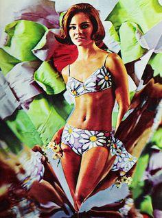 A floral bikini in Seventeen magazine, April 1968