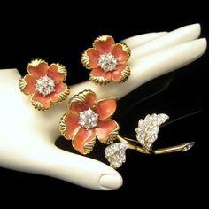 NOLAN MILLER Vintage Brooch Pin Earrings Coral Enamel Rhinestones Set Flowers #NolanMiller