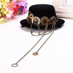 Black Steampunk Top Hat Vintage Skull Gear Hair Clip Lolita Gothic Pun - Daily Otaku Things
