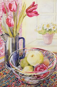 Still Life; Window; Sill; Flowers Print featuring the painting Tulips With Fruit In A Glass Bowl by Joan Thewsey