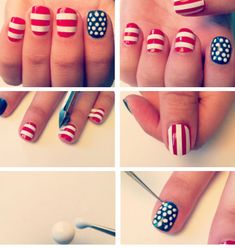 July 4th Flag Nails | Click Pic for 21 DIY 4th of July Crafts for Kids to Make | Easy 4th of July Craft Ideas for Preschoolers