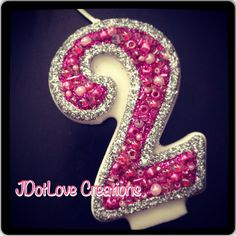 Sparkly Silver and Hot Pink Birthday Candle  You by JDotLove, $5.75