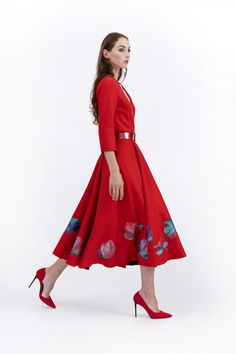 Wool Dress, Belted Dress, Red Fashion, Floral Motif, Plexus Products, Crowns, Coats For Women, Midi Skirt, Hand Painted