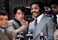Carl Weathers and Sylvester Stallone in Rocky (1976)