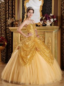 Gold Tulle Sequins Quinceanera Dresses with Hand Made Flowers - Quinceanera 100
