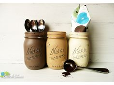 Cafe - Coffee and Tea Canisters - Painted Mason Jars - Home and Kitchen Decor - Rustic by BeachBlues on Etsy https://www.etsy.com/listing/130878686/cafe-coffee-and-tea-canisters-painted